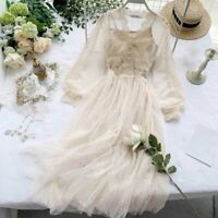Womens Lace Hollow Out Puff Sleeve Floral Dresses Mesh Elegant Fairy Midi Gothic