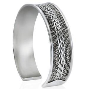 New Men's Women Wide Cuff Bracelet Sterling Silver 925 Bangle Free Size Gift