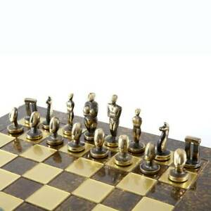 Manopoulos Cycladic Art Large Chess Set - Bronze Material - Brown Handmade Board