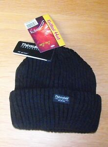 Boys/Girls Black Beanie School Hat Chunky Knit Thermal Thinsulate Lined One Size