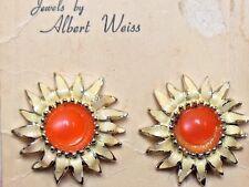 NOS 1950's Vintage Lucite enamel Sun Flower clipon earring signed designer WEISS