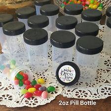 12 JARS Plastic Pill Bottle 2 ounce 60ml 4314 Container Black Cap Lid DecoJars