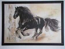 Michael Tarin Bild mit Pferd Pferdebild schw. Holzrahmen 105 x 78 cm s.Zustand