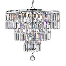 Searchlight Empire 5 Light 3 Tier Chrome Ceiling Light With Crystal Coffin Drops