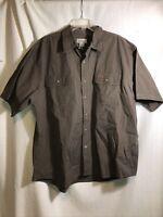 Carhartt Mens 2XL Brown Heavy Duty Short Sleeve Button Down Work Shirt