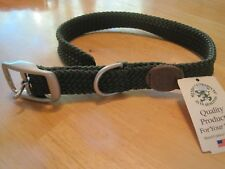 Mendota Double Braided Dog Collar Made in USA Satin Hardware Strong Soft