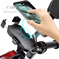 2 In1 15W Qi Wireless Charger Motorcycle Phone GPS Stand Mount Bracket Holder