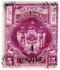 (I.B) British North Borneo Postal : 4c on $5 OP (State)