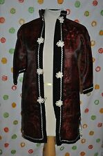 rare WW2 ERA SILK CHILDS LARGE BLACK RED  KIMONO DEER PAGODA HALLOWEEN COSTUME