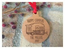 Happy Campers Trailer Christmas Ornament - Personalized Laser Engraved