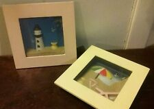 SMALL BEACH PICTURE SET Real Sand!  WALL HANGING  Lighthouse VTG Decor