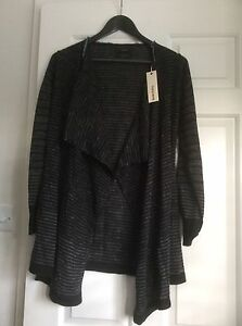 DIESEL Ladies Cardigan XS Black & Charcoal Open Front BNWT  RRP £130