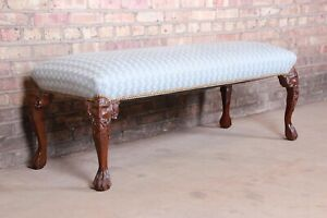 Vintage Carved Mahogany Upholstered Window Bench