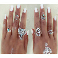 8PCS Fashion Rings Tribal Turquoise Hippie Gothic Elephant Snake Stacking Ring