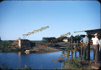 Train Railroad Bridge Washed Out Men Creek 1950s 35mm Slide Kodachrome Original