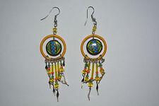 1 x pair ceramic  inca design earrings handmade yellow alpaca silver