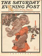 Christmas, Child, w Teddy Bear, by J.C. Leyendecker, Vintage, 1906 Antique Print