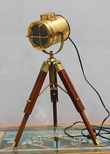 Industrial Nautical Tripod Floor Table Lamp Spot Light Vintage Wooden Floor Lamp