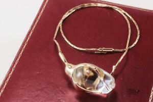 RARE STEUBEN ROSE BUD GLASS w/ 14K CHOKER CHAIN NECKLACE PENDANT IN ORIGINAL BOX