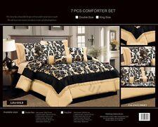 LUXURY 7 Pcs Flock Bedspread Set DamaskComforter Bedroom Bedding Set Double King