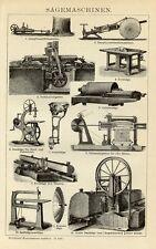 1898= SEGHERIA MACCHINARI = Stampa Antica = Old Engraving