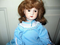 Antique Repro Composition Doll *Blue Dress/Pantaloons/Shoes Brown Hair/Eyes..16""