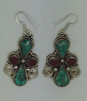 Asian sterling silver earrings  ethnic handmade hook classic tops turquoise ERU1