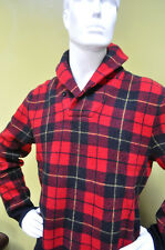 Polo Ralph Lauren Mens Wool Shawl Collar Sweater Pullover Red Plaid Size Large