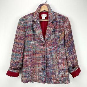 Coldwater Creek Womens Pink Tweed Jacket Petite Size 2P