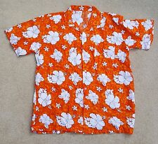 HAWAIIAN Tropical Mens Short Sleeve Hibiscus Shirt Orange White Rayon XL 40""