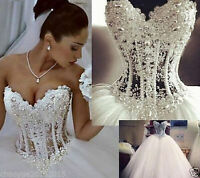 White/Ivory Fishtail Style Lace Wedding Dress Stock Custom Size 6 8 10 12 14 16