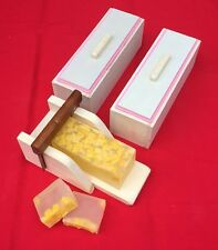 2 Wooden Wood Soap Molds with Silicone Liners and 1 Soap Cutter box, Combo set
