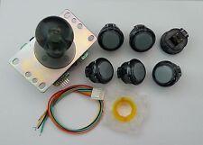 JAPAN Sanwa Clear Black Joystick GT-Y Wire Push-buttons x 6 Video Game Parts Set