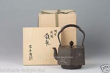 Takaoka Tetsubin: Hexagon Orizuru (Folded Paper Crane) silver inlay Iron Teapot