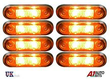 8x Flush Fit 2 Led Amber Orange Side Marker Lights Lamps 12v For Kelsa Bar