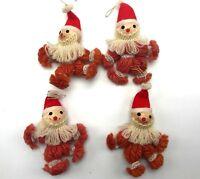 "4 Vintage Handmade Santa Ornaments Ornament Christmas Yarn 3.5"""