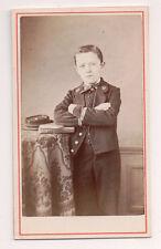 Vintage CDV French Military Boy Cadet Uniform Cap Soldier Badie Photo Paris