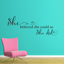SHE BELIEVED SHE COULD Words Lettering Vinyl Wall Decal Quote Sticker Girls Room