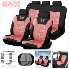 9pcs Car Front +Rear Seat Protector Cover Full Set 3D Butterfly Prints Universal