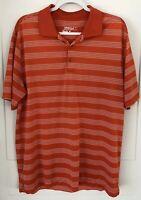 Nike Golf Tour Performance Dri Fit Men's Large Orange White Polo Button up Shirt