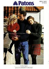 Patons Chunky Knitting pattern, Women, Men, Girls Sweater
