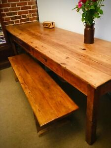Vintage LARGE Refectory Dining Table/ Desk / Rustic Table / Farmhouse Kitchen Ta