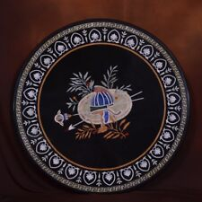 2' round coffee Marble mosaic inlay table top dining center corner semiprecious