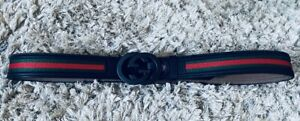 Mens Small Gucci Buckled, Genuine Leather Belt