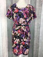 Poem by Oliver Bonas Black Floral Short Sleeve Pleat Shift Dress Size UK 10