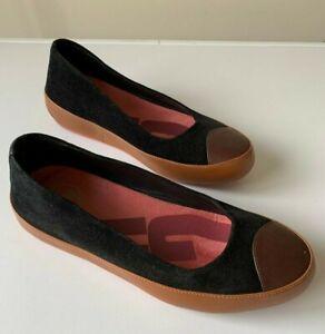 FITFLOP Black Suede Ballerina Ballet Flat shoes Womens EUR 37 (AU 6.5)