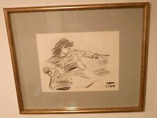Girl Lounging in Chair-Charcoal Drawing-1950s/60s-Robert Philipp
