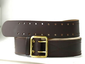 Original Soviet Union Russian Army Officer Real Genuine Leather Brown Belt