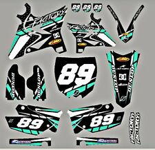 Yamaha UFO Restyled YZ125-250 Aqua Graphics kit with your number on plates trkaq