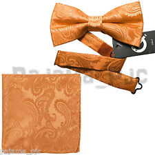 ORANGE Paisley Pre-tied Bow tie and Pocket Square Hanky Set Formal Party